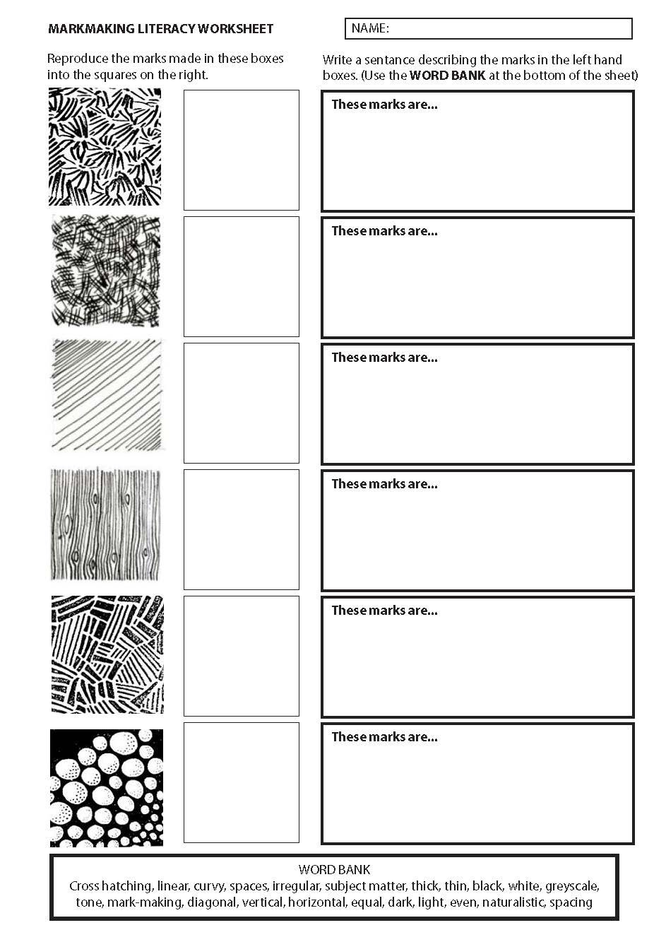 Markmaking literacy work sheet in 2019 | Literacy worksheets ...