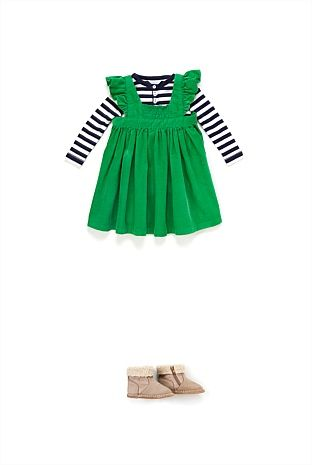 Green Pinafore with Stripe T-Shirt -- Country Road