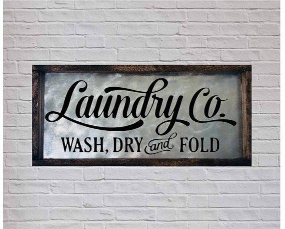 WashDry Laundry Room Sign Metal Wall Art