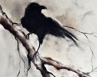 original charcoal raven drawing crow halloween gothic wall art minimalist drawing 12x9 - Halloween Crows