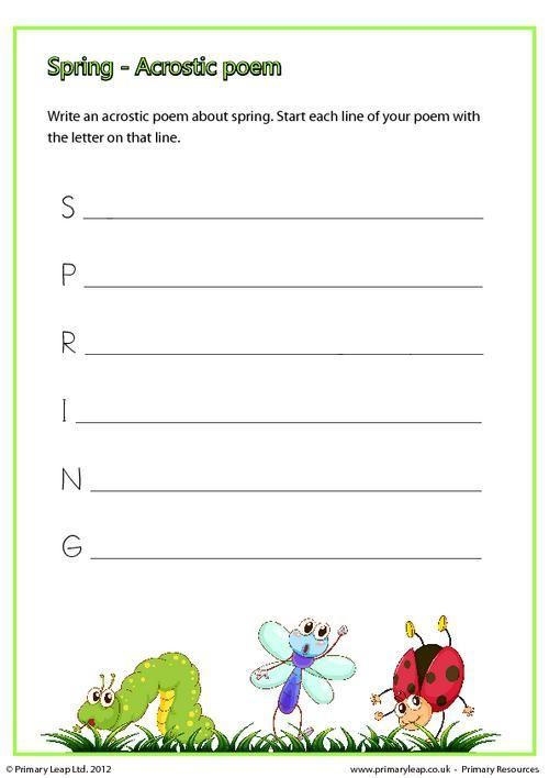 Primaryleap Spring Acrostic Poem Worksheet For Kids
