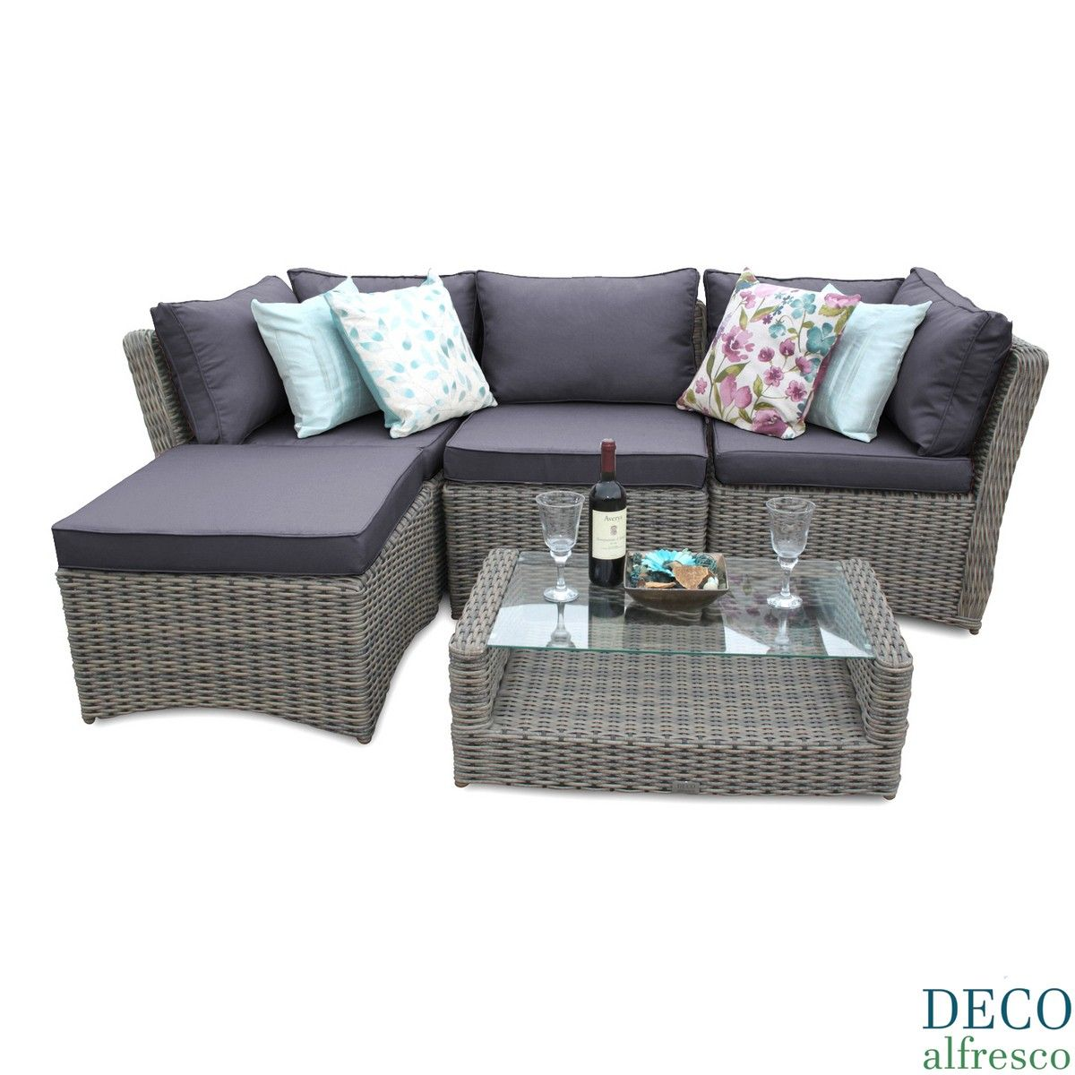 Fine 5Pc High Back Modular Corner Sofa Rattan Furniture Set Caraccident5 Cool Chair Designs And Ideas Caraccident5Info