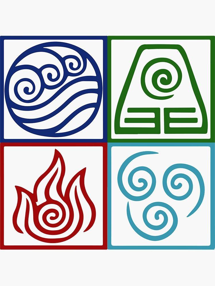 Pegatina Simbolo De Los Cuatro Elementos De Avatar De Daljo Tatuajes De Los Cuatro Elementos Elementos Simbolos Elementos
