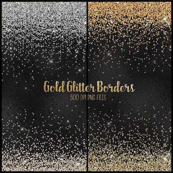 Gold Glitter Borders Clipart Plata Y Oro Glitter Png Etsy In 2021 Clip Art Borders Clip Art Glitter Overlays