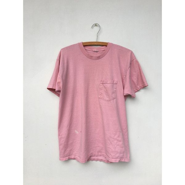 e430835bbee845 Vintage 70s/80s Pink One Pocket Distressed T Shirt M/L ($44) ❤ liked on  Polyvore featuring tops, pink top, distressed top, pocket tops, 80s tops  and ...