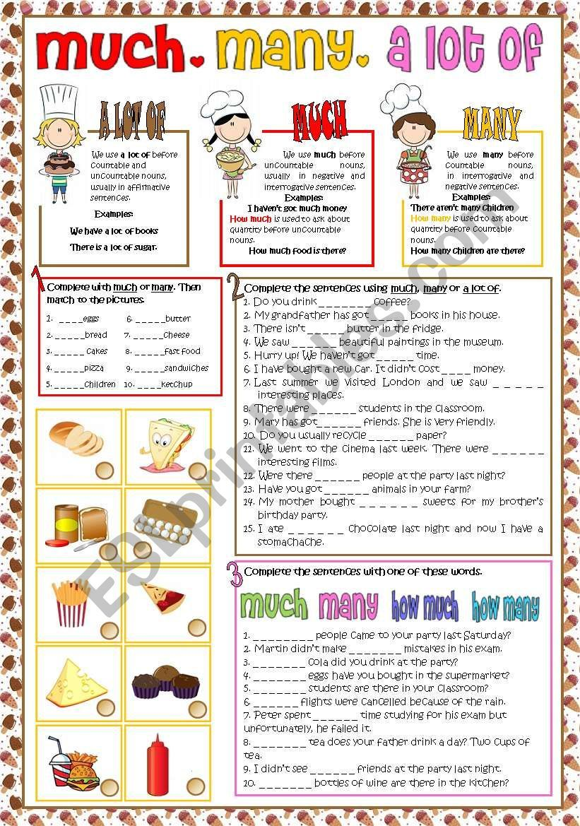 Students Can Practice The Use Of Much Many And A Lot Of There Are Three Different Activities And Voca English Teaching Materials English Lessons Learn Hebrew