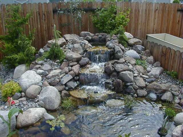 Mini waterfall with rockery ponds pinterest pond for Garden pond water feature ideas