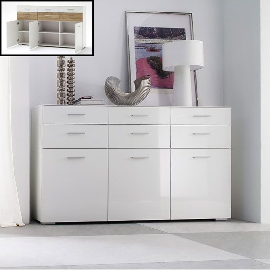 Best Portland Sideboard In White High Gloss With 3 Door 400 x 300