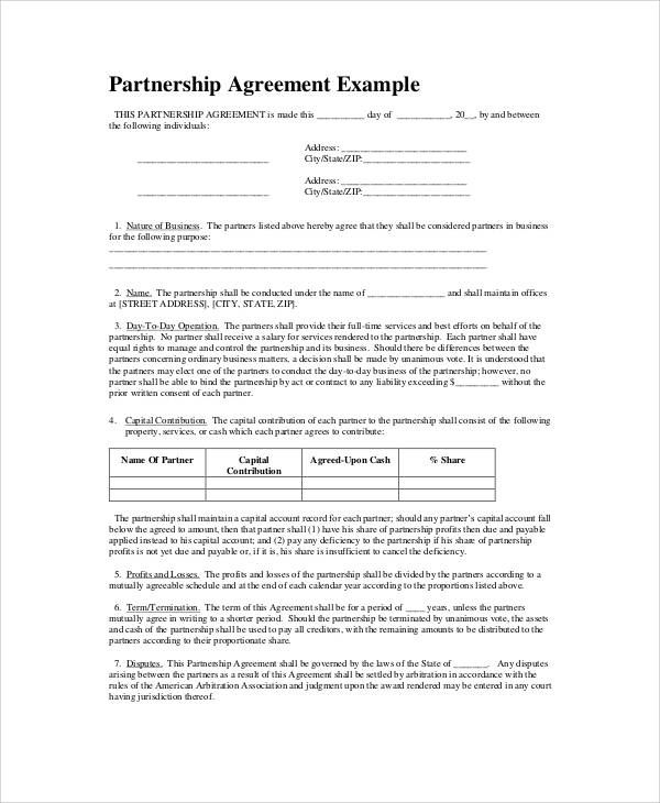 Partnership Agreement Example  Partnership Agreement Templates