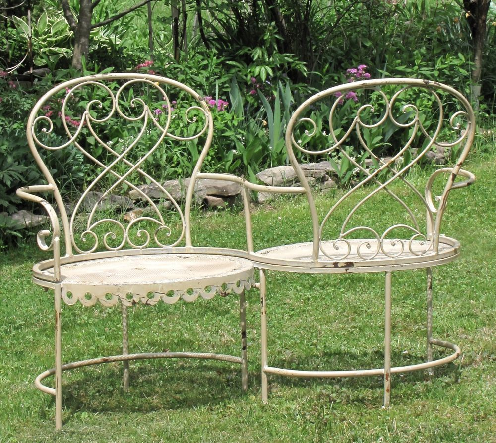 romantic victorian metal garden kissing bench in antique white or