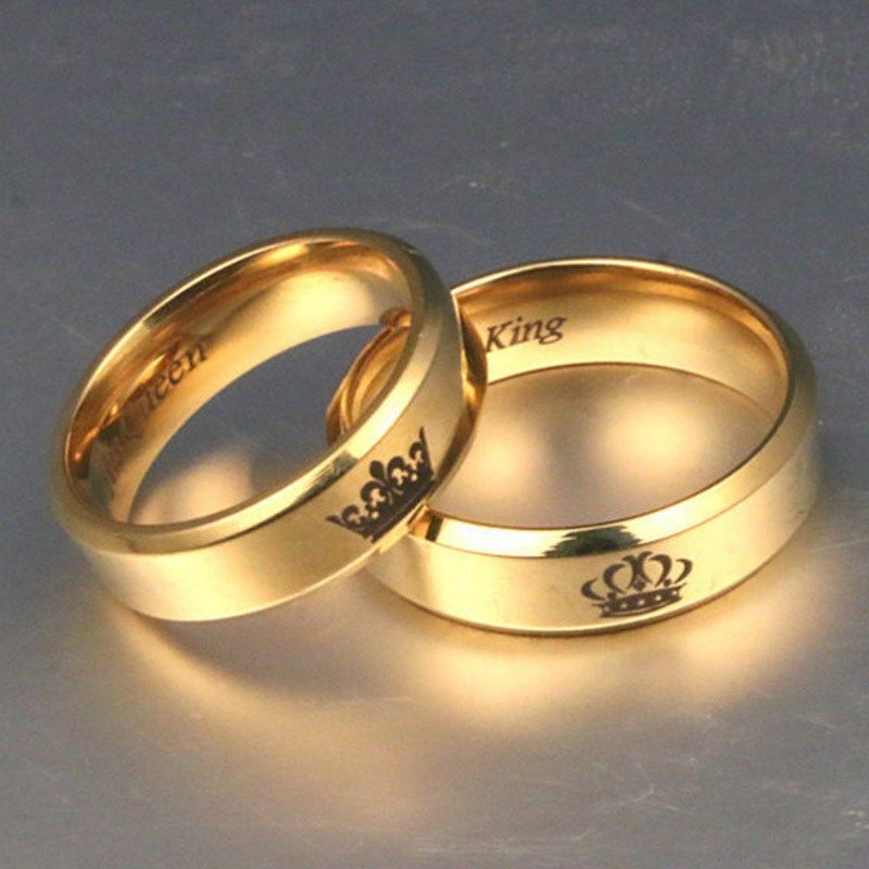 Gold Colour King And Queen Stainless Steel Crown Couple Rings Gold