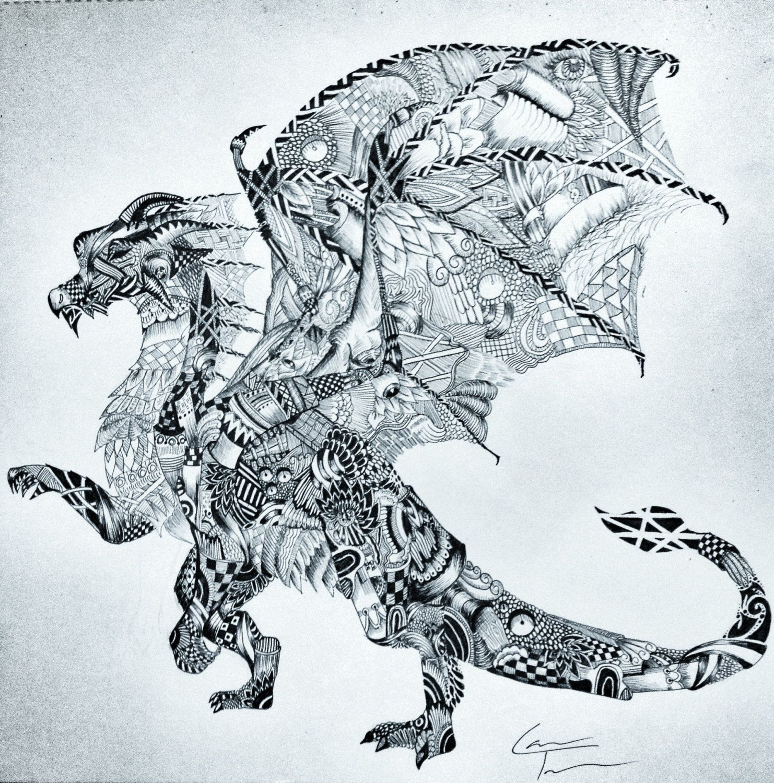 Dragon A3 Zentangle by TelferZentangle on Etsy, £60.00 ... - photo#14