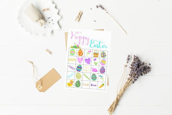 Fun Easter Party Bingo Game! Download and Print at Home. Includes 10 cards for large groups to play. Kids and Adults would love this cute watercolor Easter game. Party entertainment and celebration games for your Easter Sunday! Only $8.95 on Etsy now!  #etsy #printable #Easter #games #bingo #family #fun #kids #toddler