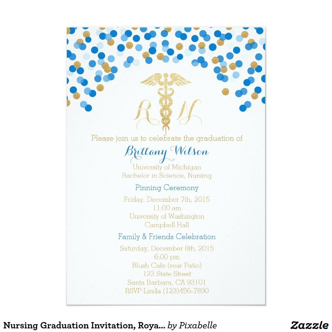 Nursing Graduation Invitation, Royal Blue, Gold 5x7 Paper ...