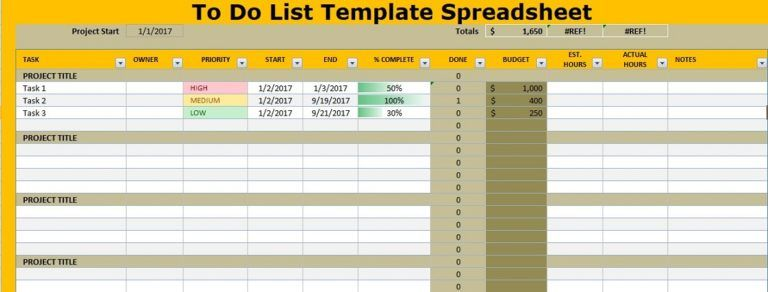 To Do List Template Spreadsheet Excel Projectemplates List