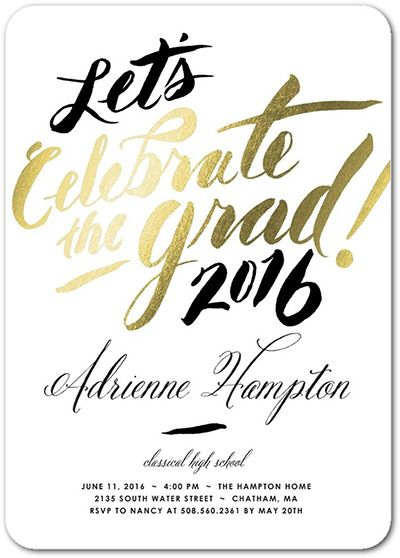 Graduation announcement wording ideas graduation pinterest lets celebrate black white and gold graduation party invitation with no picture filmwisefo