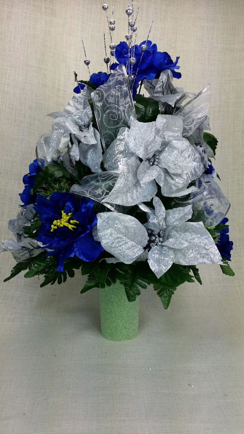 No021 Holiday Christmas Silk Flower Cemetery Cone Vase
