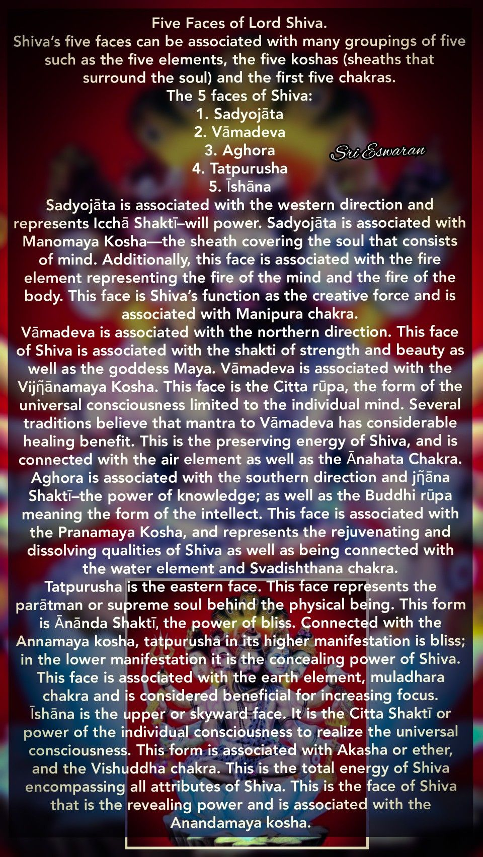 Shivas Five Faces Can Be Associated With Many Groupings Of
