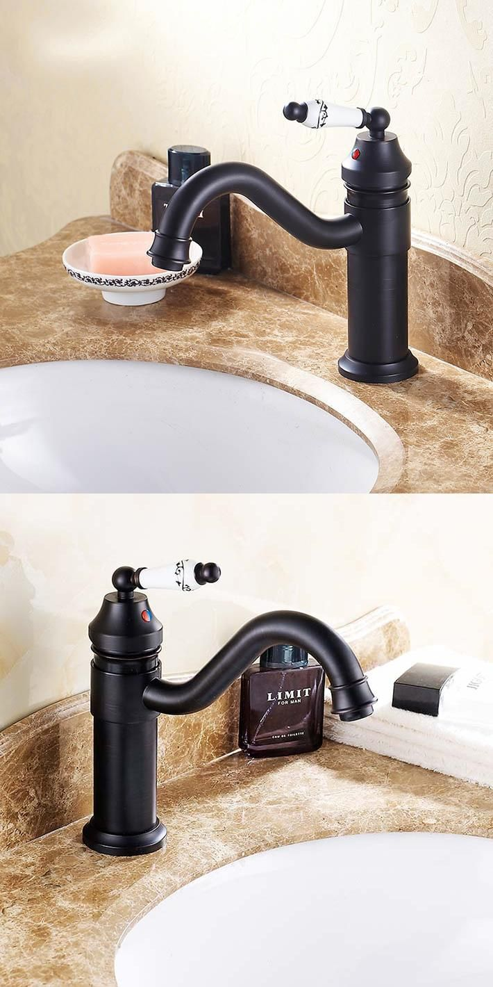 Antique Oil Rubbed Bronze (black ) Bathroom Sink Faucets Basin Mixer ...