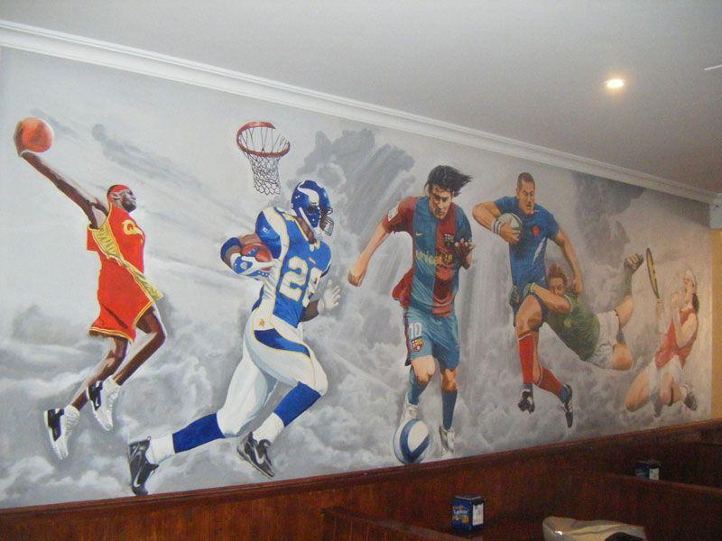 Sports Bar Mural Kids Sports Room Gym Wall Decal Sports Wall