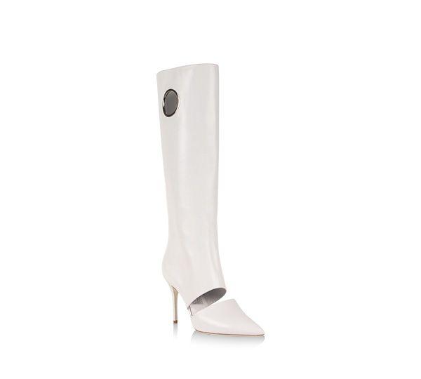 Winter white boots from Ferragamo make