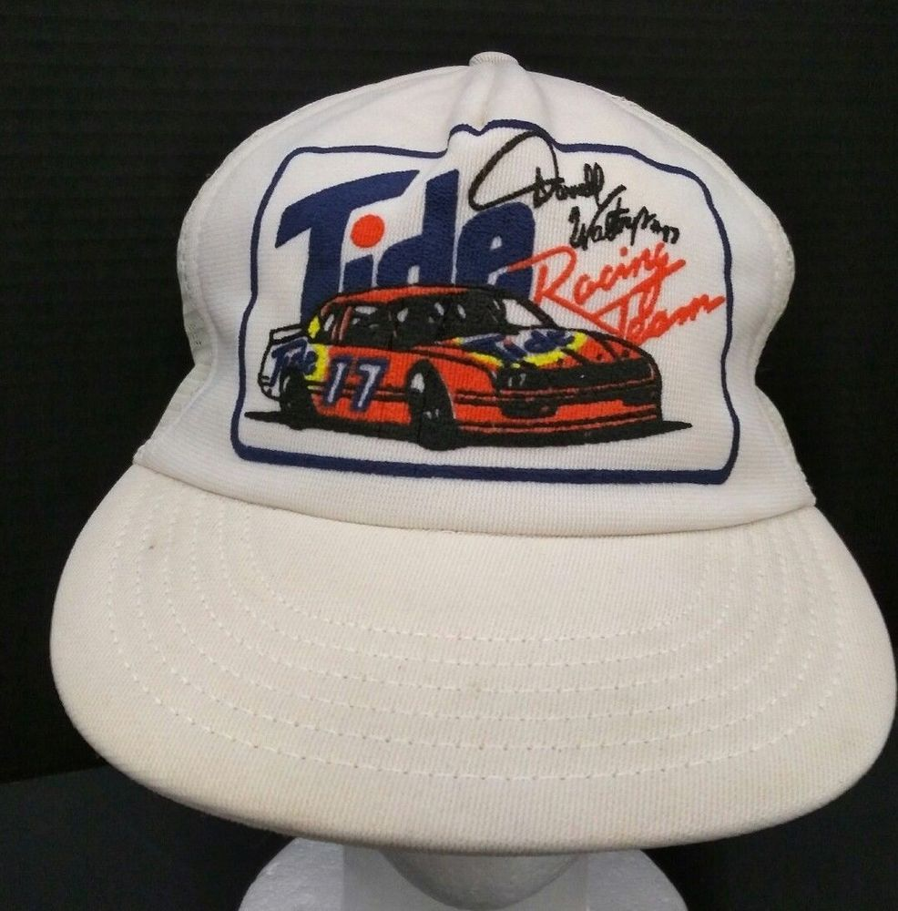 50b92f9d279 Vintage Tide Racing Team Hat Darrell Waltrip 17 White Snapback Mesh Back USA   Unbranded  Trucker