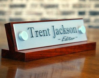 Acrylic Teacher Desk Name Plate With Wood Plaque By Garosigns