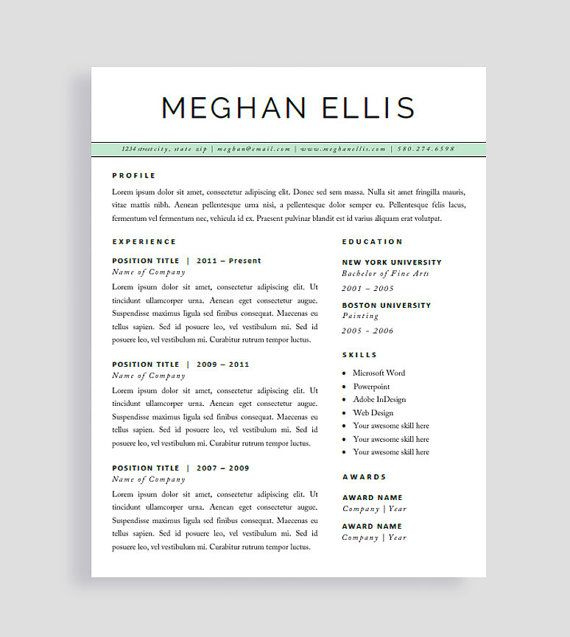 Resume Template For Pages Professional Cv Template  Cv Template For Word  Creative Resume