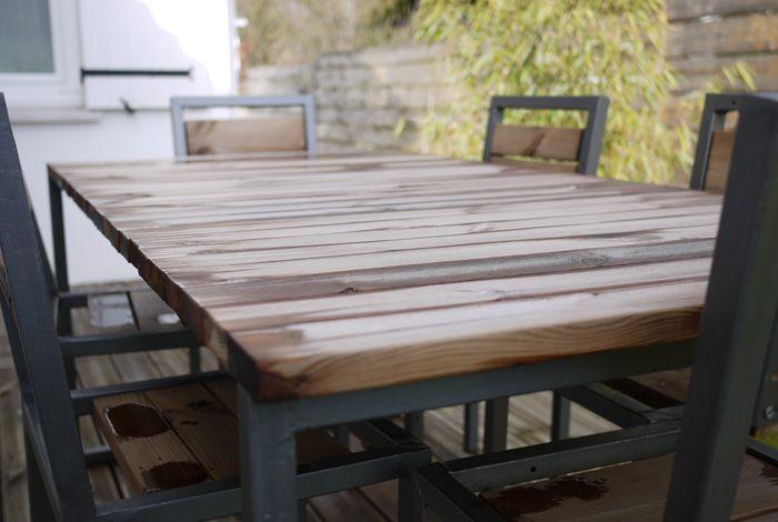 Table de jardin Plateau en lattes de pin « KUHMO » traité classe 4