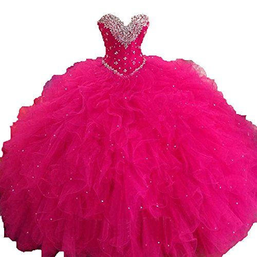363e492a472 Diandiai Sweetheart Quinceanera Dress 2016 Ruffles Ball Gown Prom dress  Fuchsia 12 -- Check out the image by visiting the link. (This is an  affiliate link)