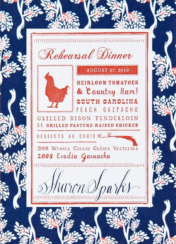fabric-patterned rehearsal dinner invite by Mr. Boddington