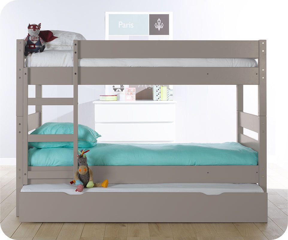 lit superpos enfant 1 2 3 lin 90x190 cm avec sommier gigogne lit superpos superpose et ouvert. Black Bedroom Furniture Sets. Home Design Ideas
