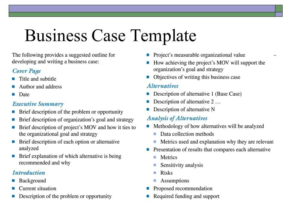 Resultado De Imagen Para Business Case Template  Business Case