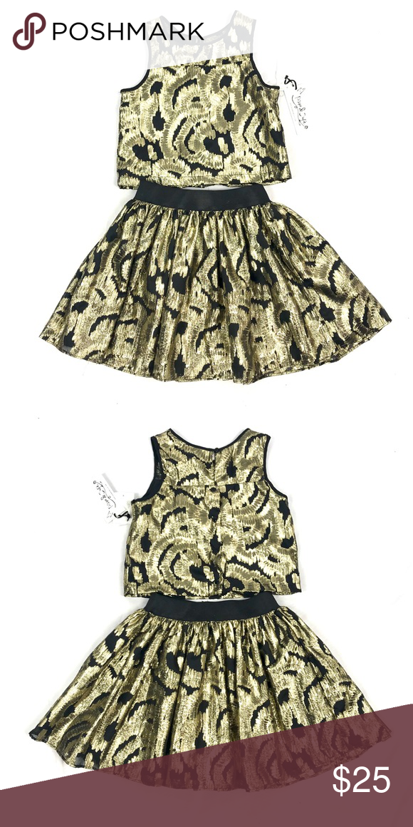 65483af03e39 Pippa & Julia girls Christmas skirt top outfit NWT. Gold metallic and  black. Pippa & Julie Matching Sets
