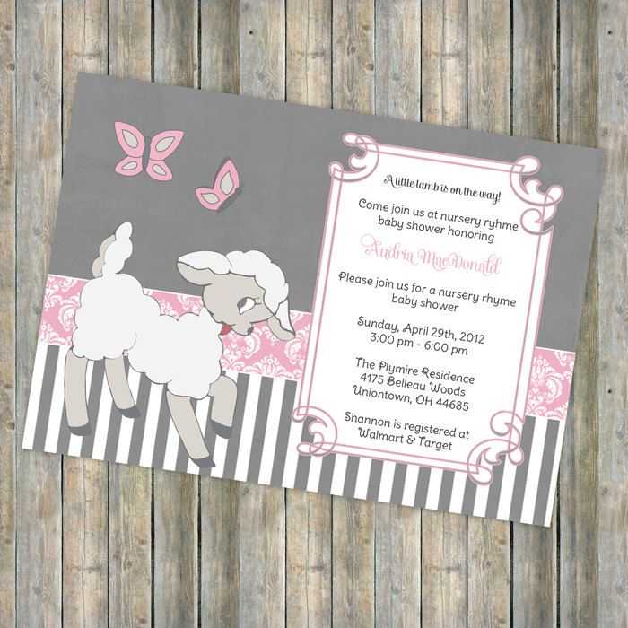 nursery rhyme baby shower theme little lamb baby shower invitation