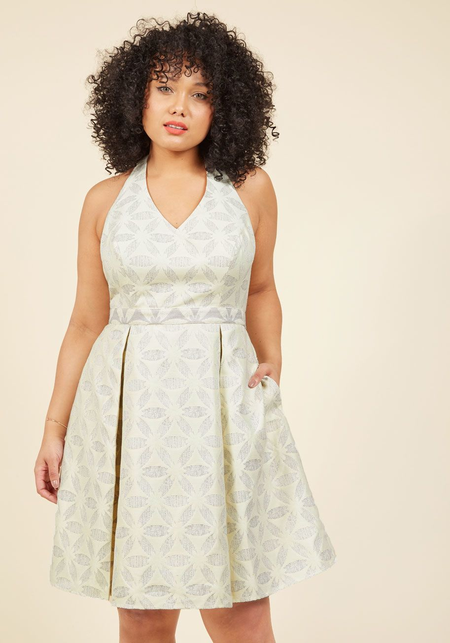 Renewed resplendence aline dress in eggshell modcloth