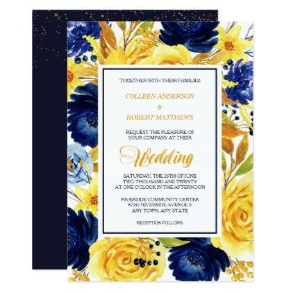 bright gold navy blue floral modern wedding invite wedding