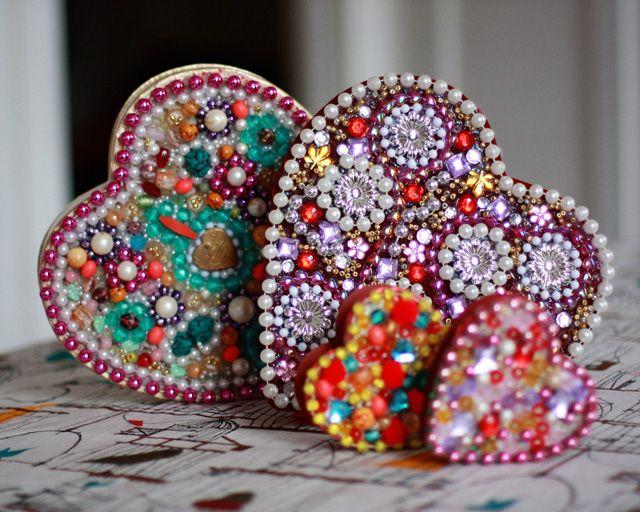 Jambalya Boxes, beaded valentine boxes