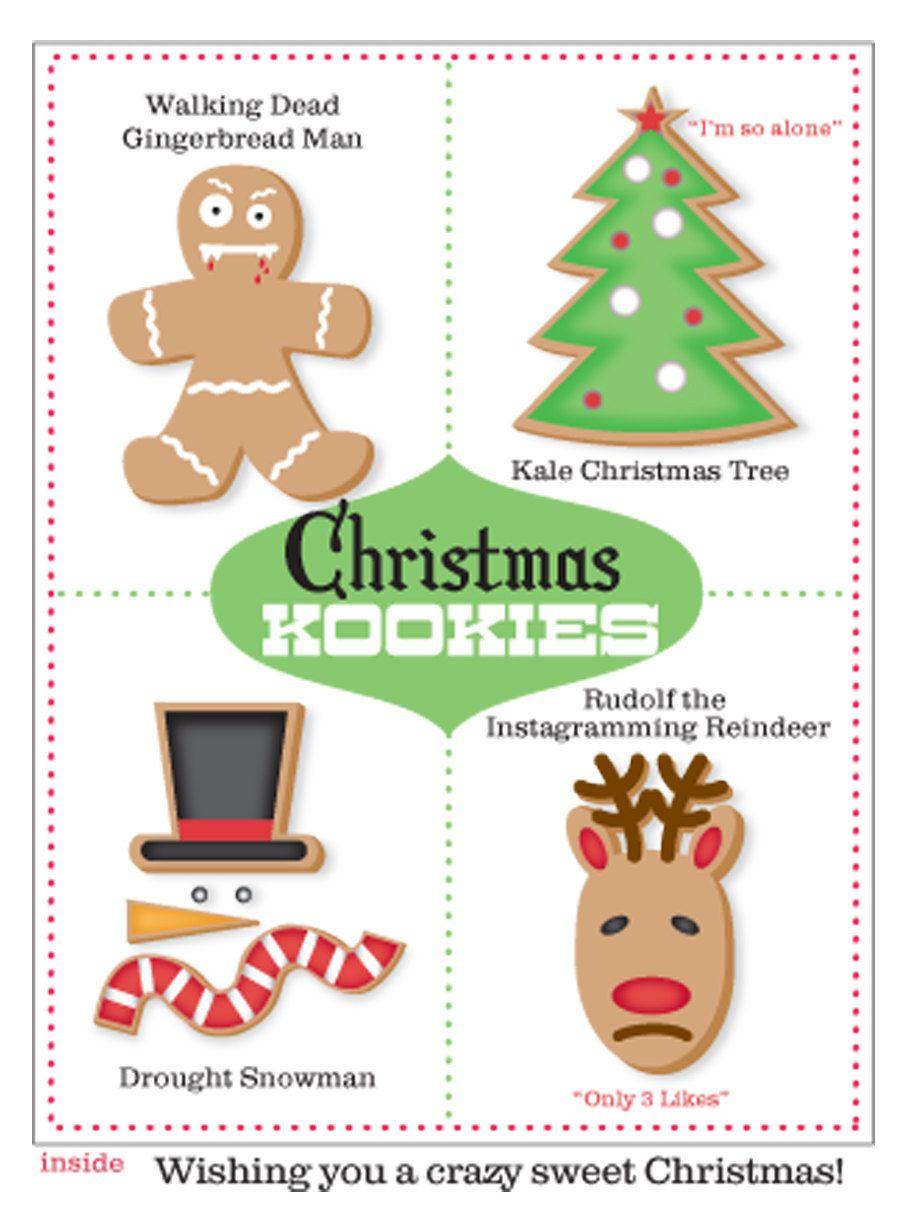 Set Of 10 Funny Cool Christmas Cards Christmas Kookies By