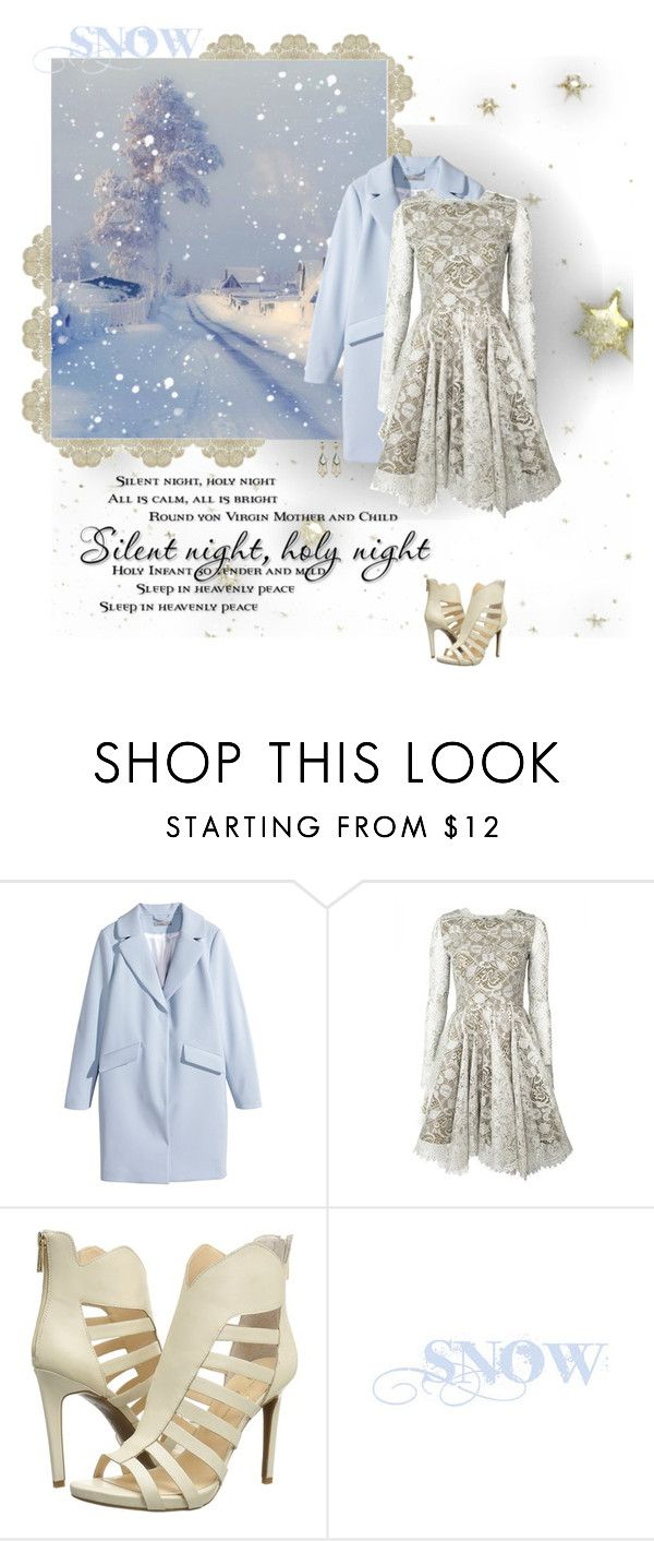 """""""Silent Night"""" by seafreak83 on Polyvore featuring H&M, Jessica Simpson, Alexis Bittar, Winter and blueandwhite"""