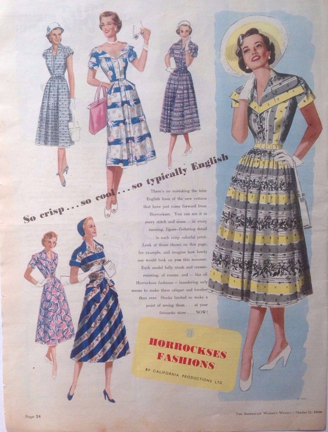 Original HORROCKSES FABRIC AD RETRO DRESS FASHION 1950 vintage AUSTRALIAN advert…