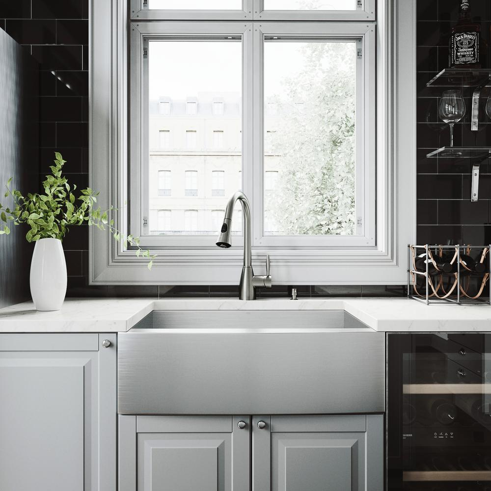 Vigo Camden Stainless Steel 30 In Single Bowl Farmhouse Apron Front Kitchen Sink With Aylesbury Faucet And Accessories Vg15006 The Home Depot Farmhouse Sink Kitchen Apron Front Kitchen Sink Stone Farmhouse Kitchen 30 stainless steel farmhouse sink