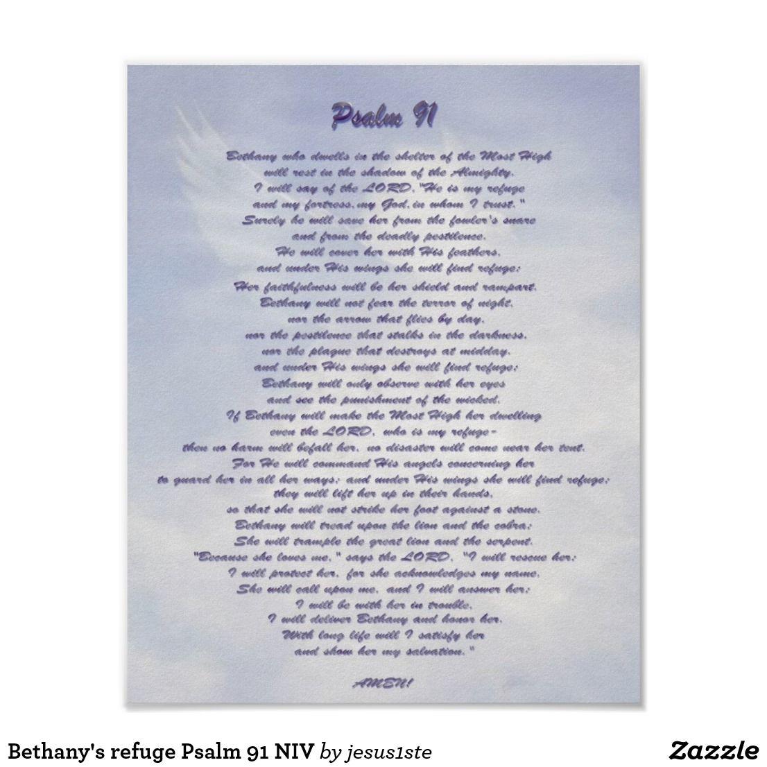 Bethany's refuge Psalm 91 NIV Poster   Zazzle com   All Erte   Psalm