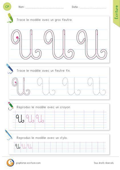 Pdf exercice d 39 criture cp ce1 apprendre crire la lettre u majuscule en cursive id es - H en majuscule ...