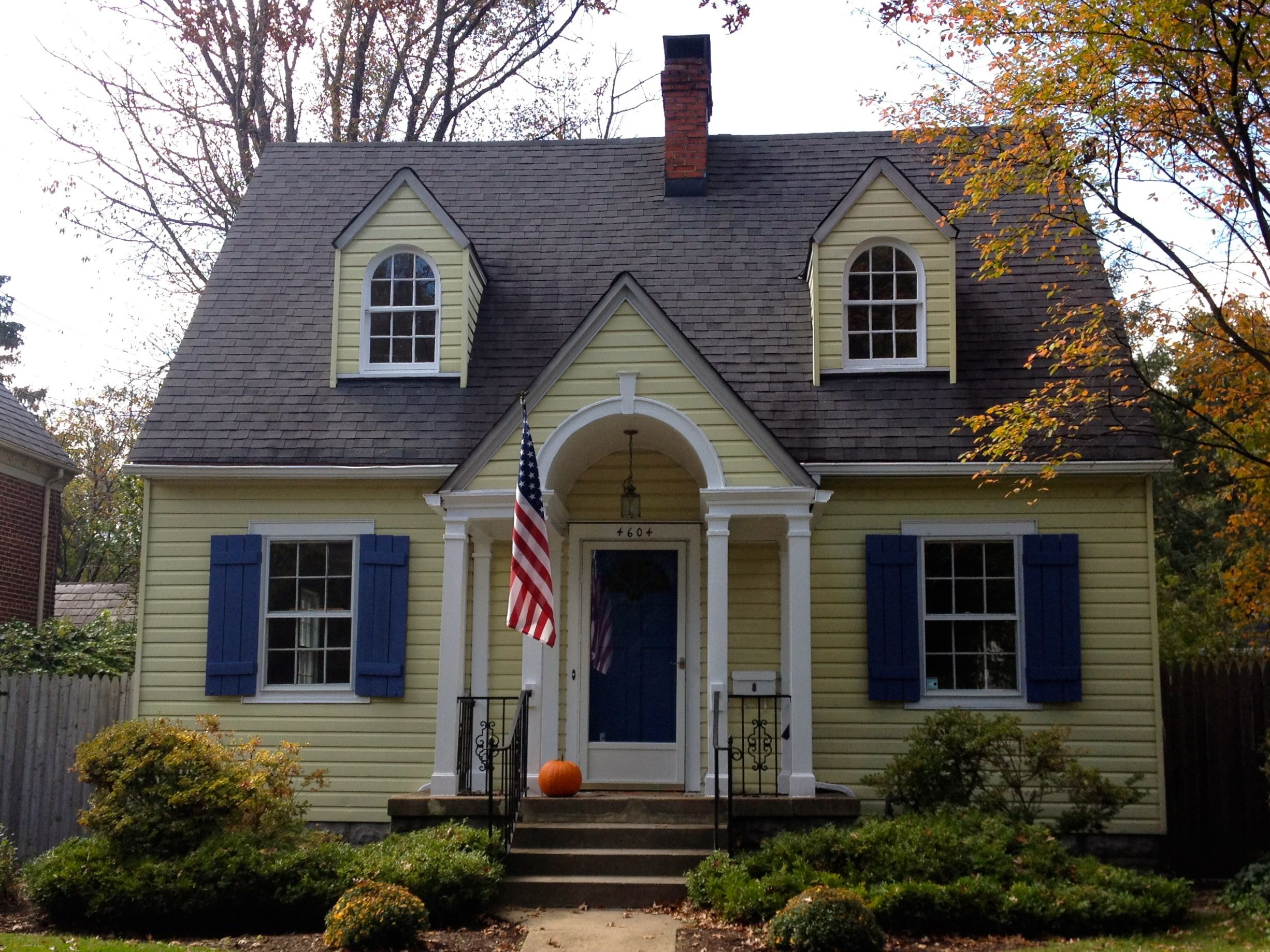 Yellow And White House With Blue Shutters Google Search Cape Cod House Exterior House Paint Exterior Cape Cod Style House