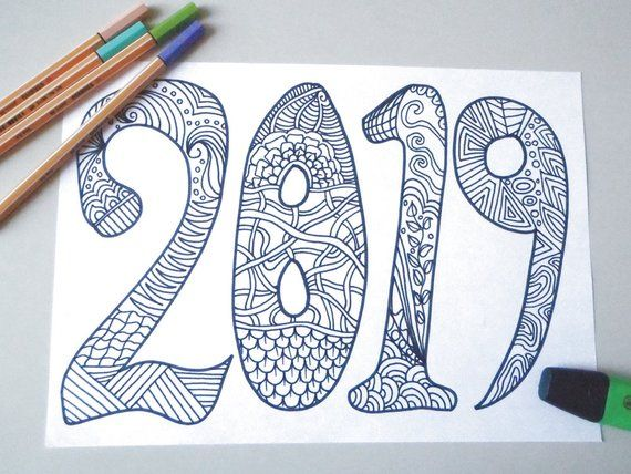 2019 new year adult coloring book kids page happy new year - New year 2019 color ...