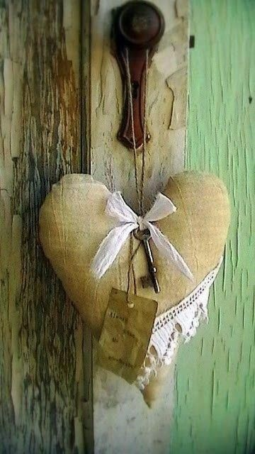 vintage heart..BURLAP,STAINED/YELLOW PAPER/FOUNTAIN PEN/TRINKET TO HANG ON HEART…