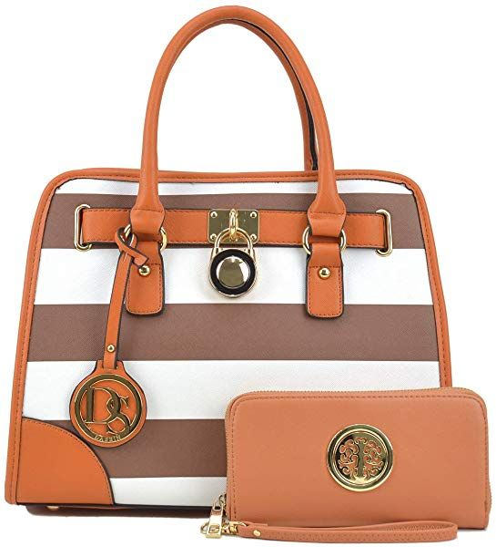 3259b0d878d Dasein Women s Designer Padlock Striped Belted Top Handle Satchel Handbag  Purse Shoulder Bag With Wallet (Coffee White)  Handbags  Amazon.com