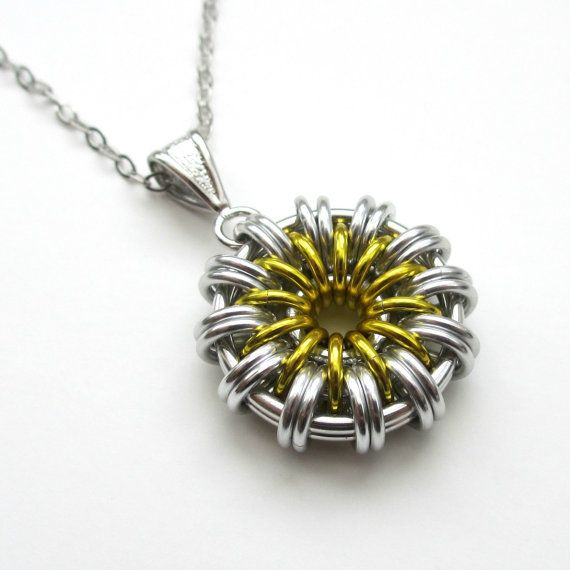 Daisy pendant necklace chainmail jewelry daisy pendant necklace chainmail jewelry by tattooedandchained mozeypictures Image collections