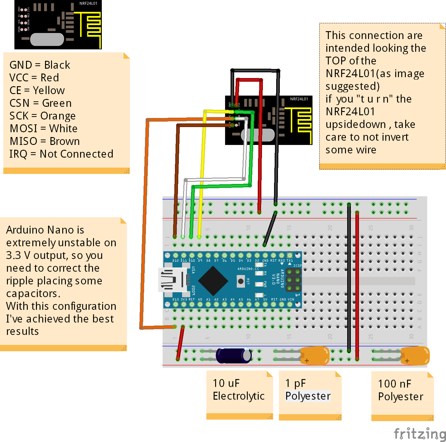 Fritzing Project – Arduino Nano NRF24L01 Receiver | Circuit